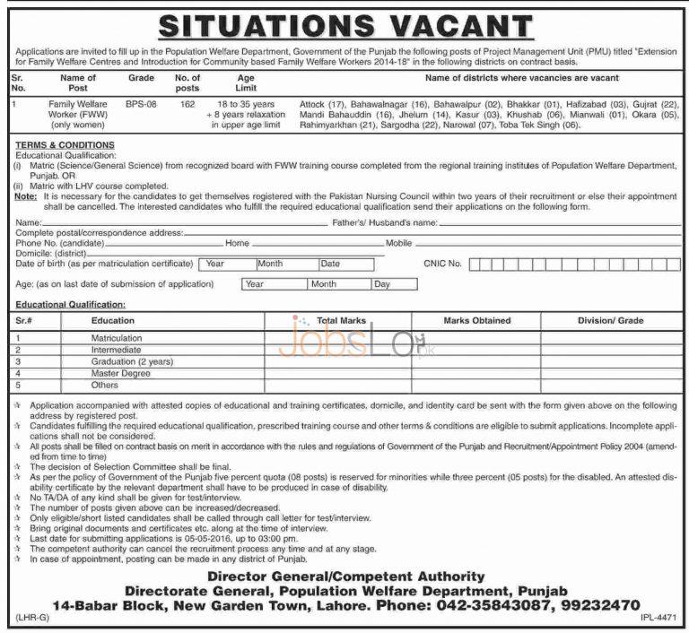 Population Welfare Department Punjab Jobs April 2016 For Family Welfare Worker Latest