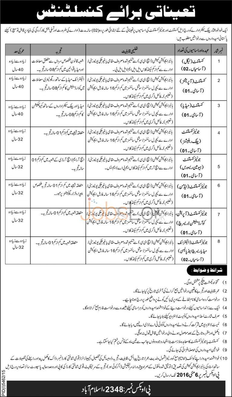 Public Sector Organization Islamabad Jobs April 2016 For Consultants Eligibility Criteria