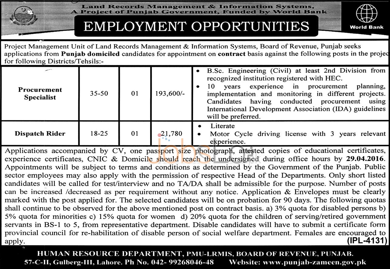 Land Record Management & Information Systems Punjab Jobs