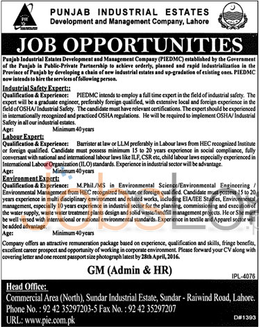 Punjab industrial state Development & Management Company Jobs