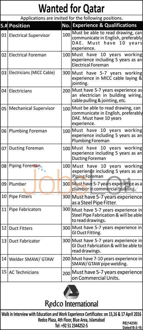 Qatar Jobs April 2016 For Technical Staff Walk In Interview Latest Add