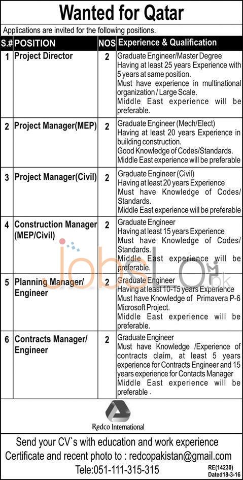 Redco International Company Qatar Jobs 2016 For Pakistani's Career Offers