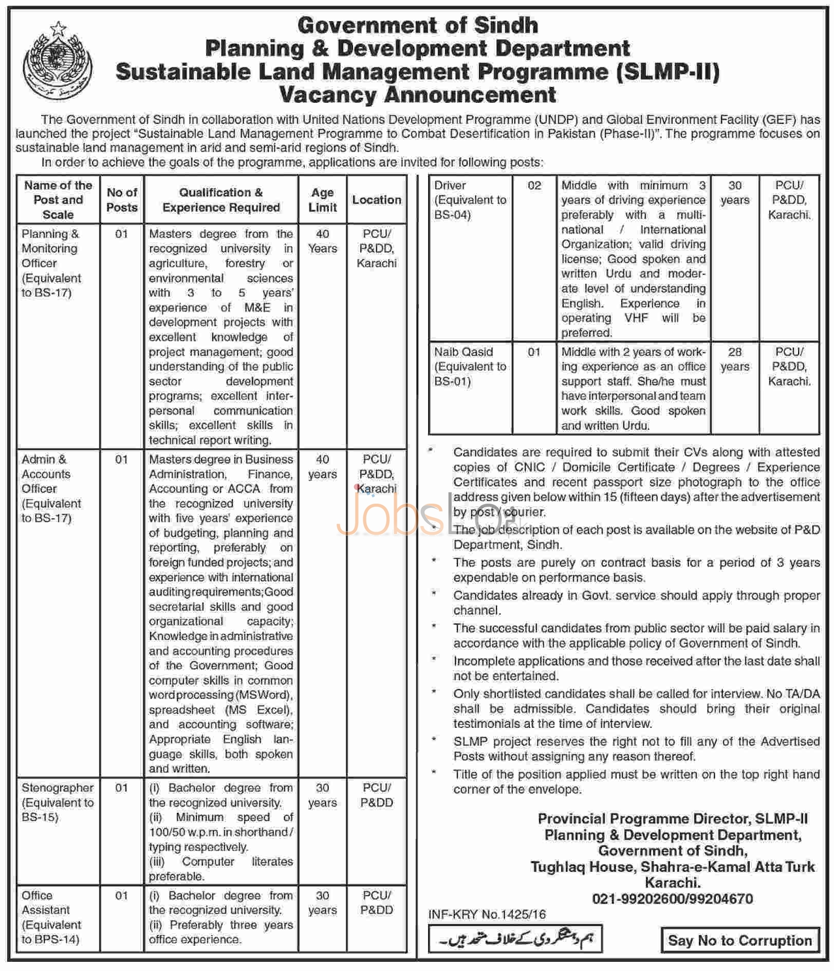 Sindh Planning & Development Department Jobs