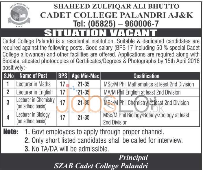 SZAB Cadet College Palandri & AJK Jobs April 2016 For Lecturers Eligibility Criteria