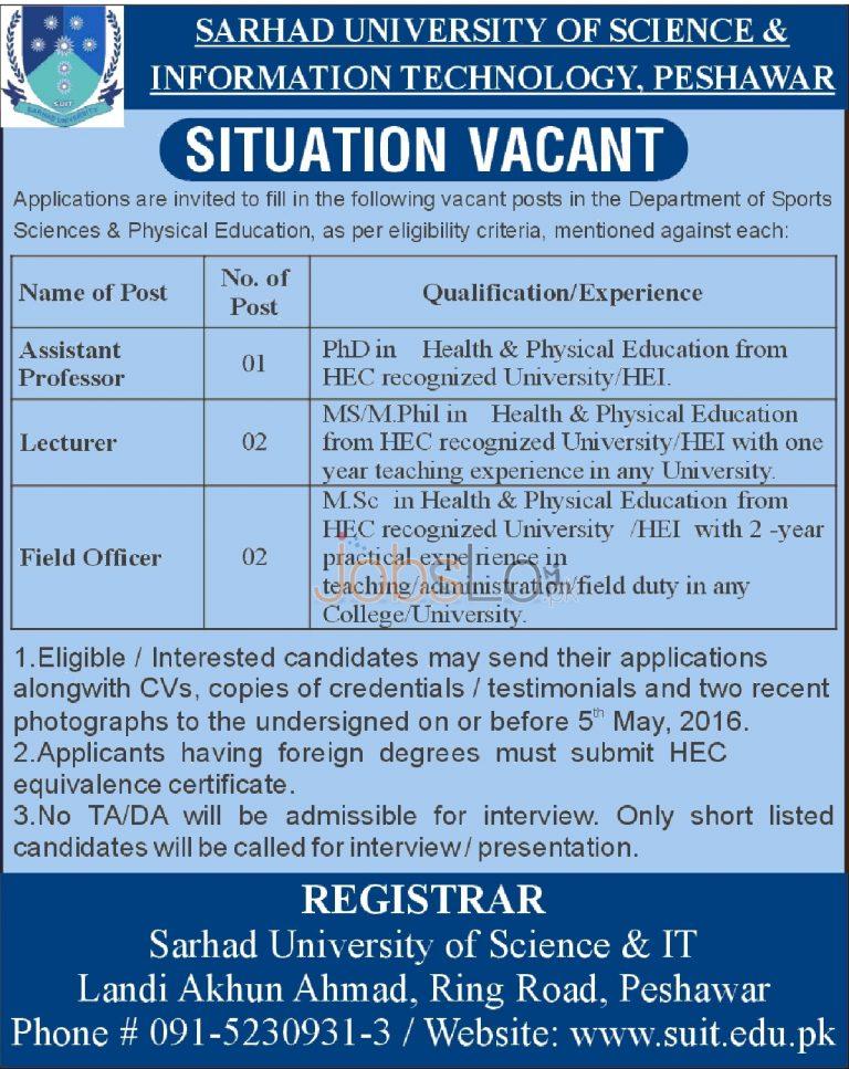 Sarhad University of Science & Information Technology Peshawar Jobs April 2016 Latest Add
