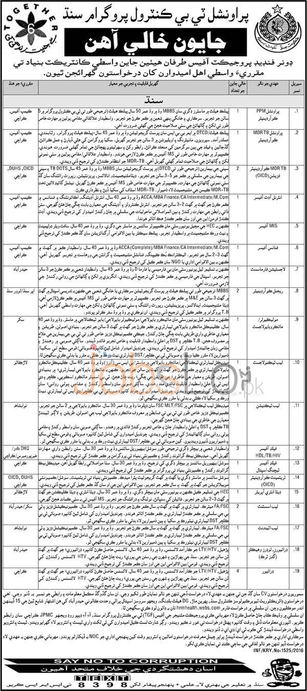 Provincial TB Control Programme Sindh Jobs April 2016 Application Form Download Online