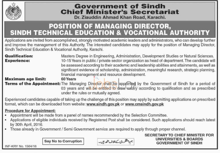 Chief Minister Secretariat Sindh Jobs April 2016 For Managing Director