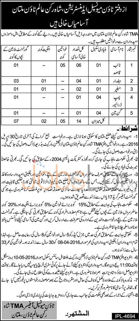TMA Multan Jobs April 2016 For Naib Qasid & Helper Latest Add