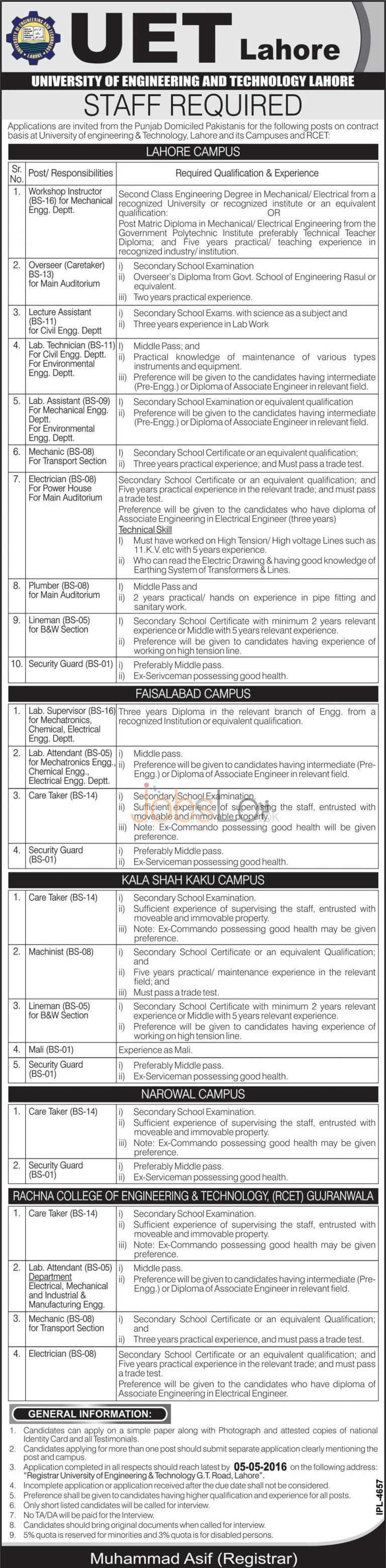 UET Lahore Jobs April 2016 Staff Required Latest Add