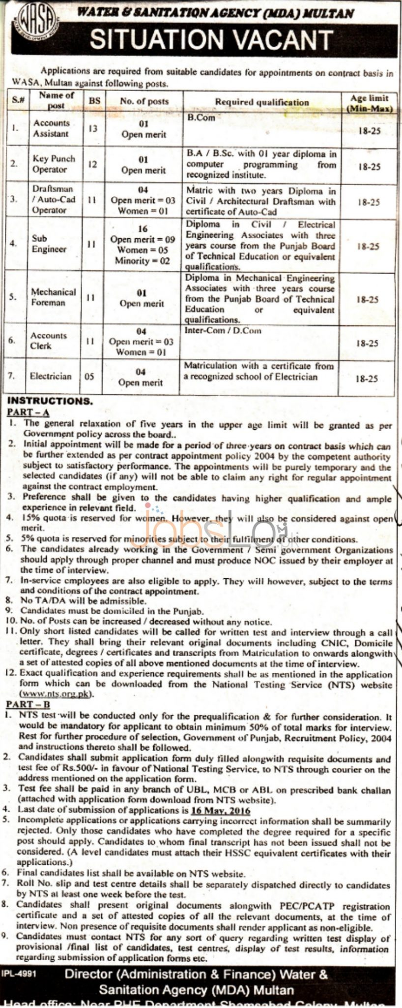 Water & Sanitation Agency Multan Jobs May 2016 NTS Application Form www.nts.org.pk