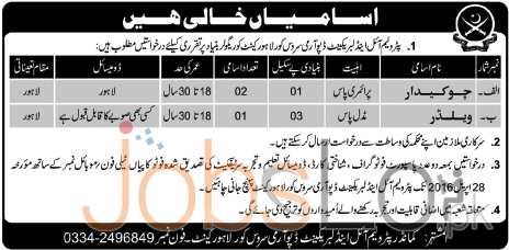 Pakistan Army Petroleum Oil & Lubricant Depot Lahore Cantt Jobs 2016 Latest Add