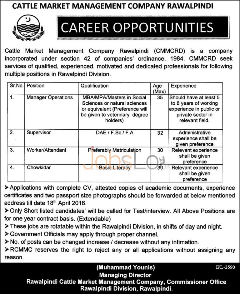 Cattle Market Management Company Rawalpindi Jobs 2016 For Manager Operations