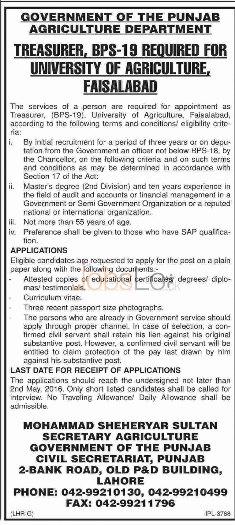 University of Agriculture Faisalabad Jobs April 2016 For Treasurer Eligibility Criteria