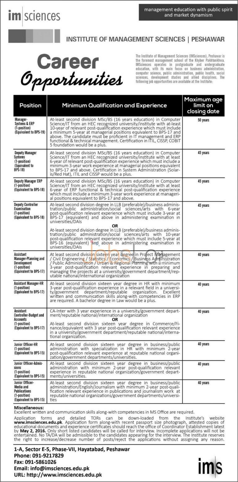Institute of Management Sciences Peshawar Jobs April 2016 Application Form Download Online