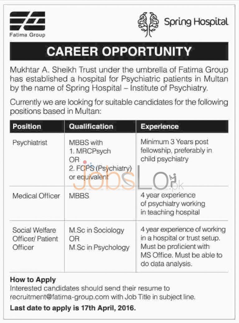 Spring Hospital Institute of Psychiatry Multan Jobs 2016 For Psychiatrist Eligibility Criteria