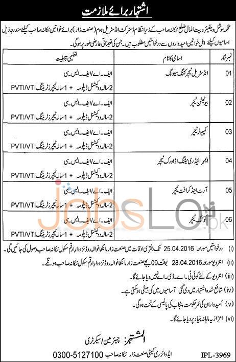 Social Welfare and Bail-ul-Maal Department Nankana Sahib Jobs 2016 For Females