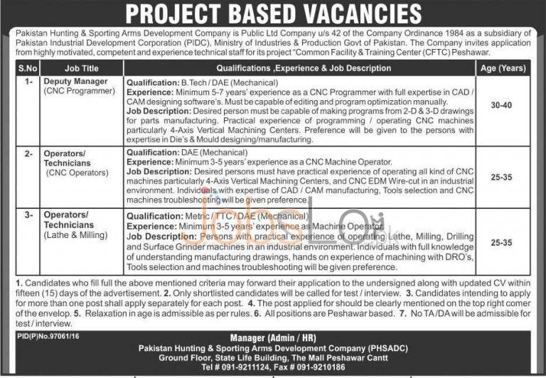 Pakistan Hunting & Sporting Arms Development Company Peshawar Jobs 2016 Latest Add