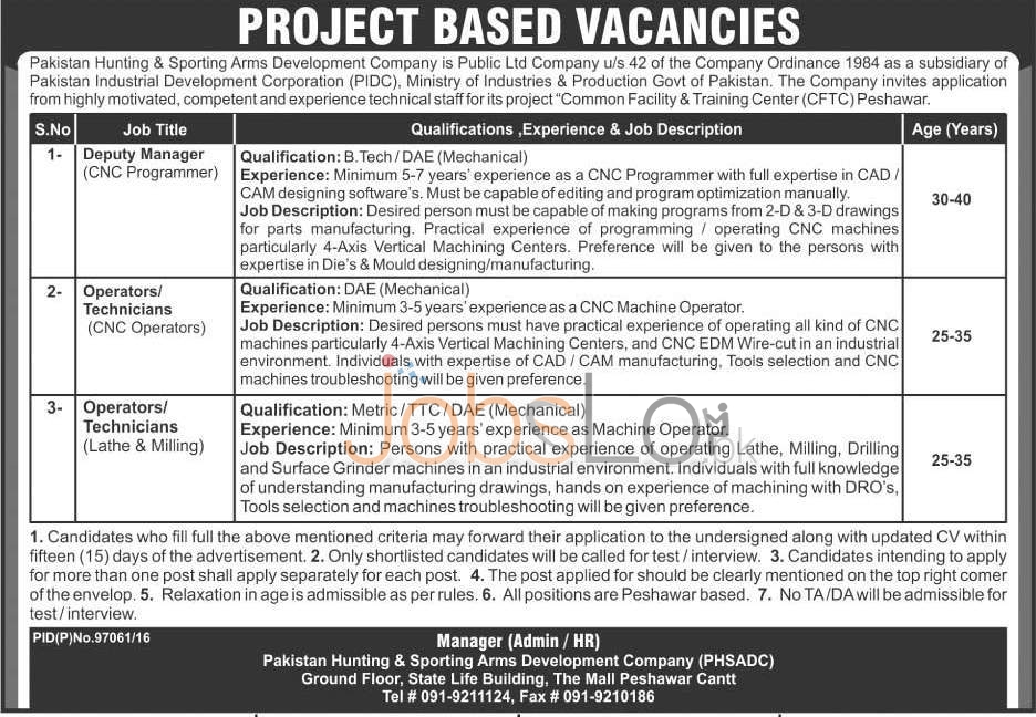Pakistan Hunting & Sporting Arms Development Company Peshawar Jobs