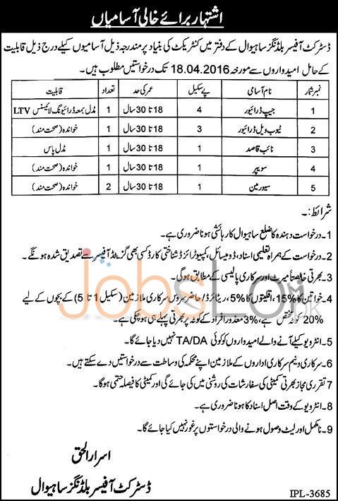 District Office Buildings Sahiwal Jobs 2016 For Driver & Naib Qasid Latest