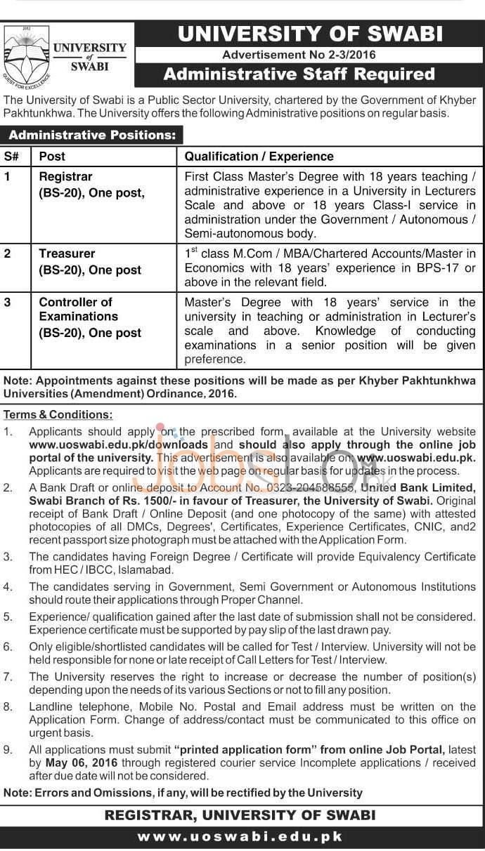 University of Swabi Jobs April 2016 Apply Online www.uoswabi.edu.pk