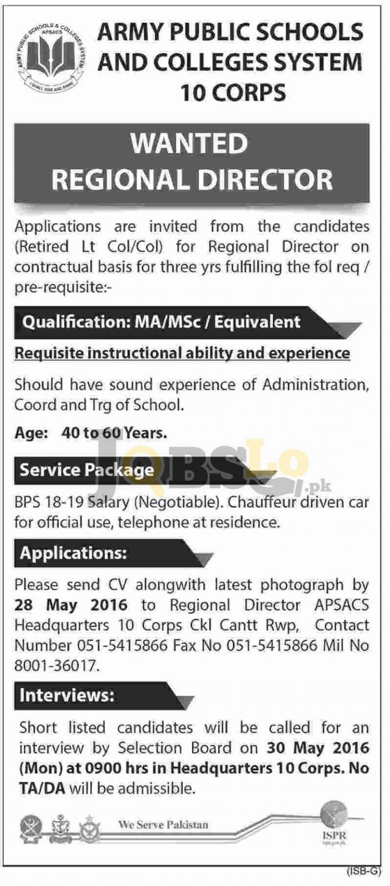 Army Public School & College Rawalpindi Jobs 2016 Employment Opportunities