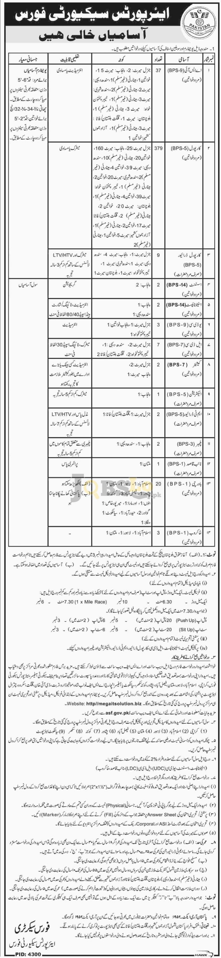 Airport Security Force ASF Jobs May / June 2016 Application Form Download