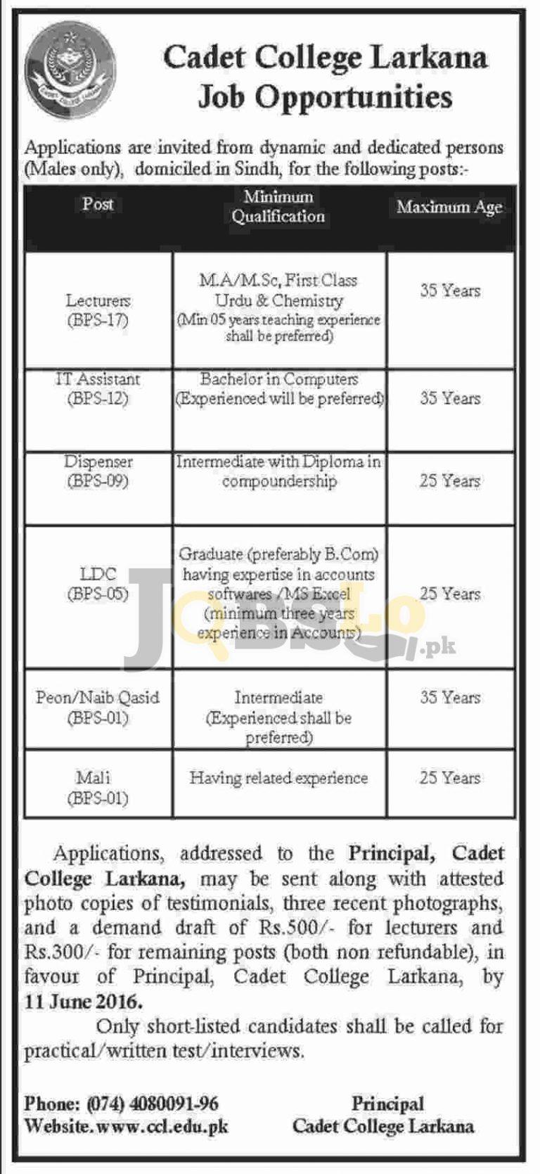 Cadet College Larkana Jobs May & June 2016 Career Opportunities