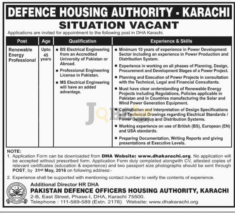 DHA Karachi Jobs May 2016 For Renewable Energy Professionals Latest Add