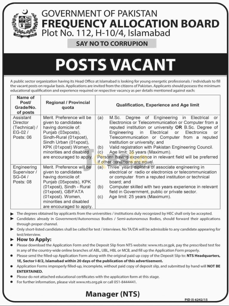Frequency Allocation Board Jobs May & June 2016 NTS Form & Test Schedule