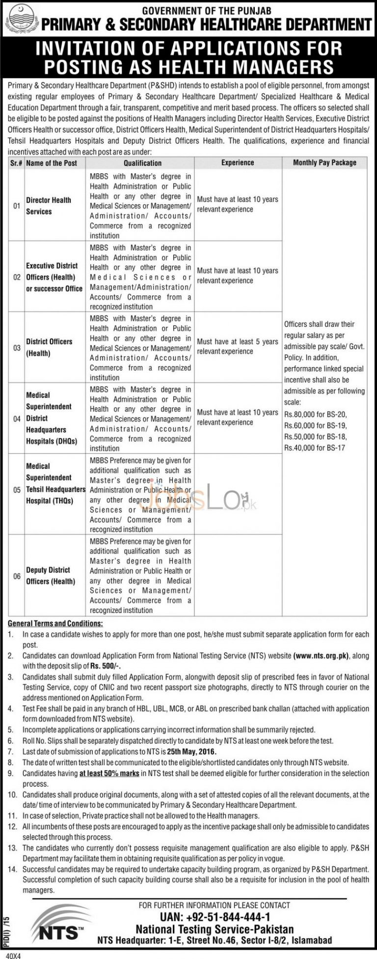 Primary & Secondary Healthcare Department Punjab Jobs May 2016 NTS Application Form www.nts.org.pk