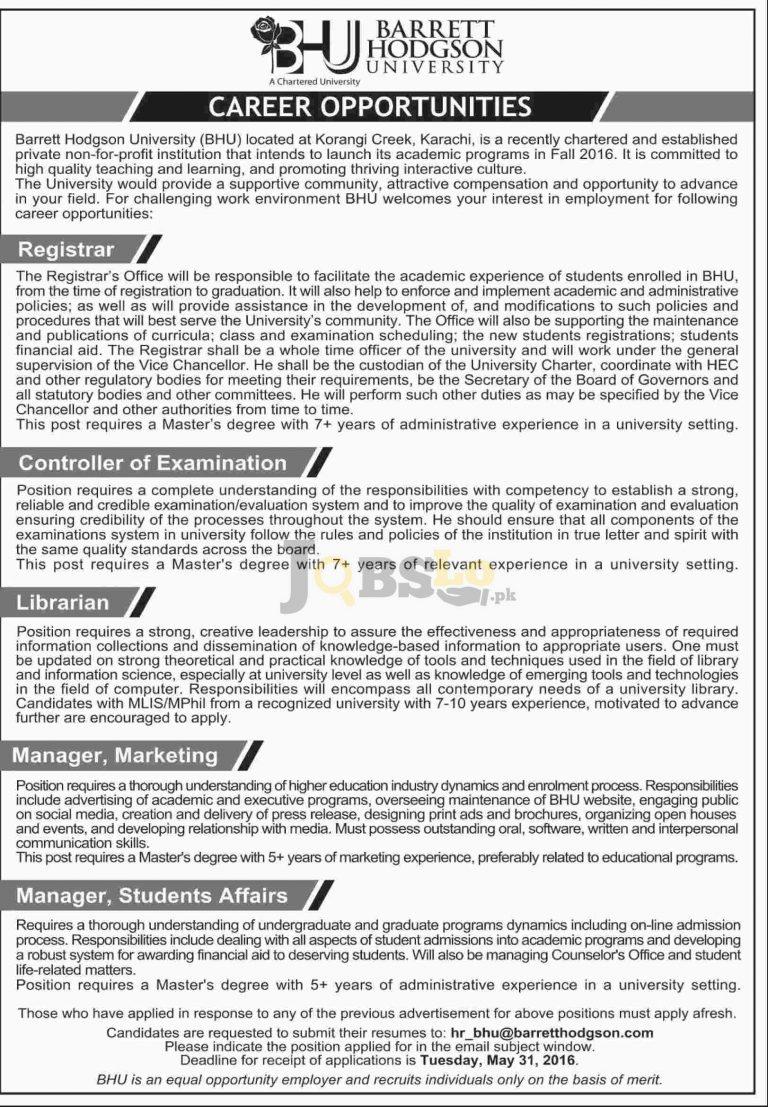 Barrett Hodgson University Karachi Jobs 2016 For Registrar Librarian Latest Add