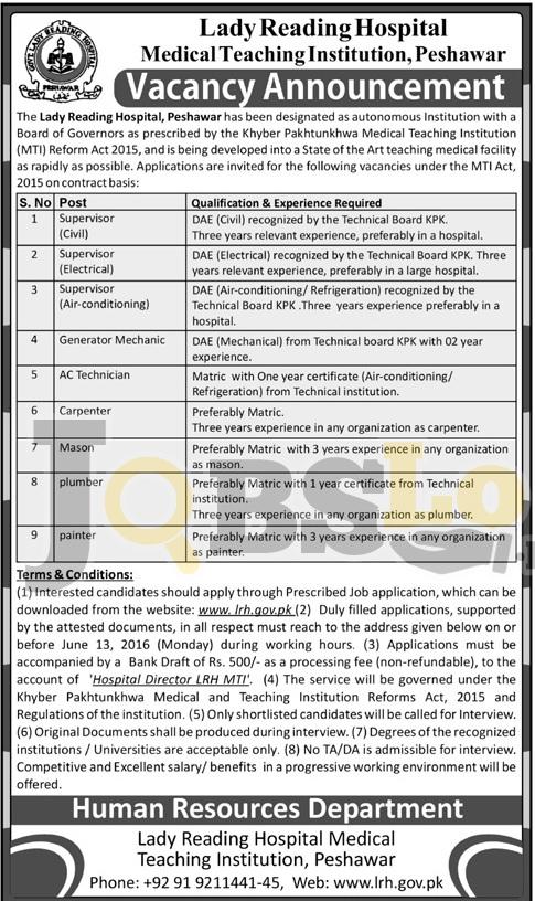 Peshawar Lady Reading Hospital Jobs 2016 For Supervisor Technician Eligibility Criteria