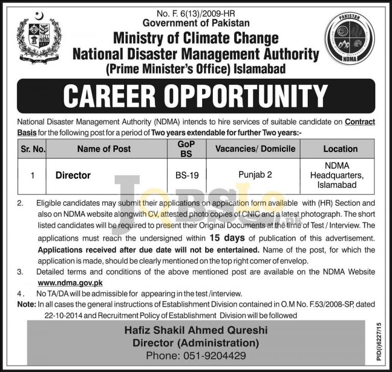 NDMA Islamabad Jobs May 2016 For Director Online Application Form