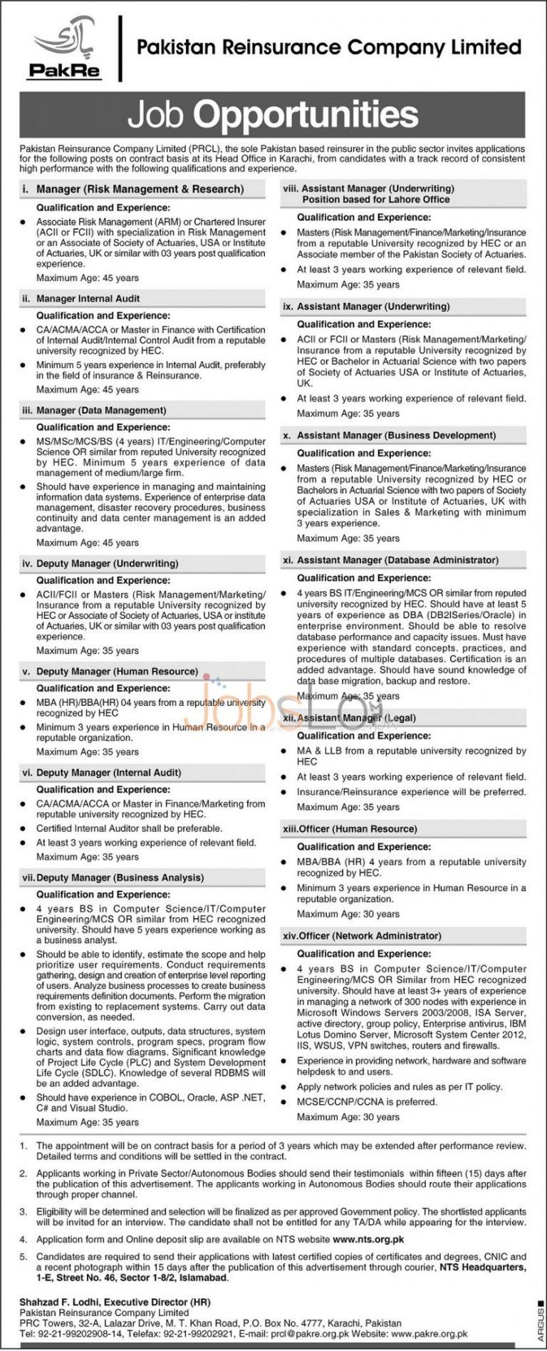 Pakistan Reinsurance Company PRCL Karachi Jobs May 2016 NTS Application Form Download Online