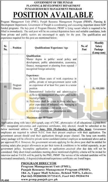 Punjab Resource Management Program Lahore Jobs 2016 For Program Director