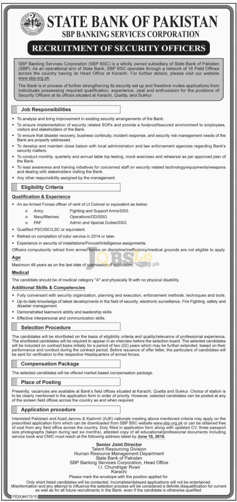 State Bank of Pakistan SBP Jobs May 2016 For Security Officers Latest Add
