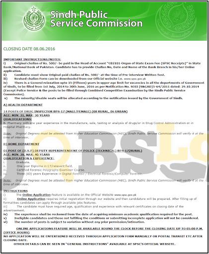 SPSC Sindh Public Service Commission Health Department Jobs 2016 Apply Online