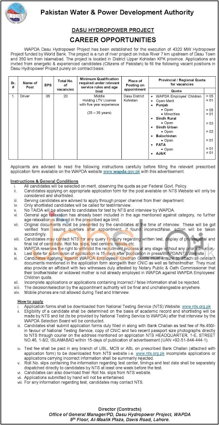 WAPDA Dasu Hydropower Project Jobs May 2016 For Driver NTS Application Form Download Online