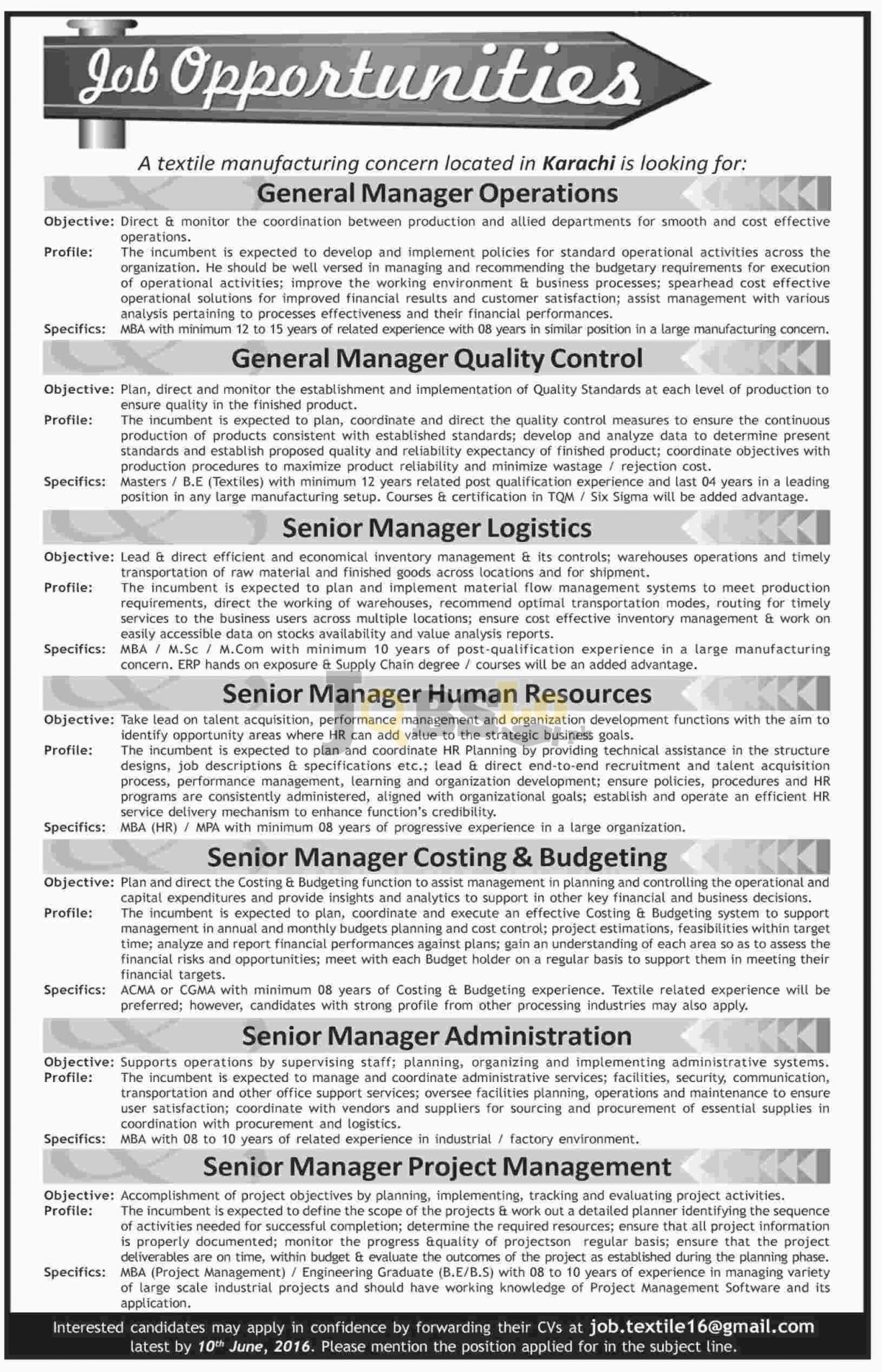 Textile Industry Jobs