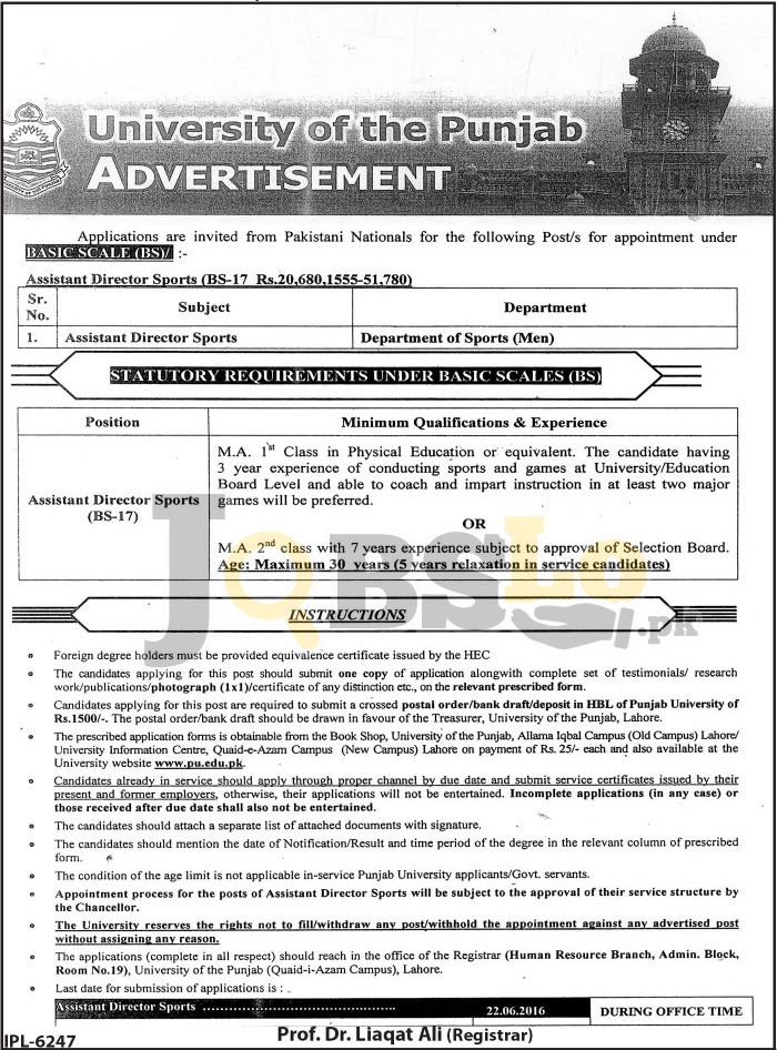 University of Punjab Lahore Jobs May 2016 For Assistant Director Sports BPS-17