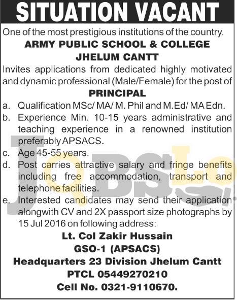 Army Public School & College Jobs 2016 Jhelum Latest Career Opportunities