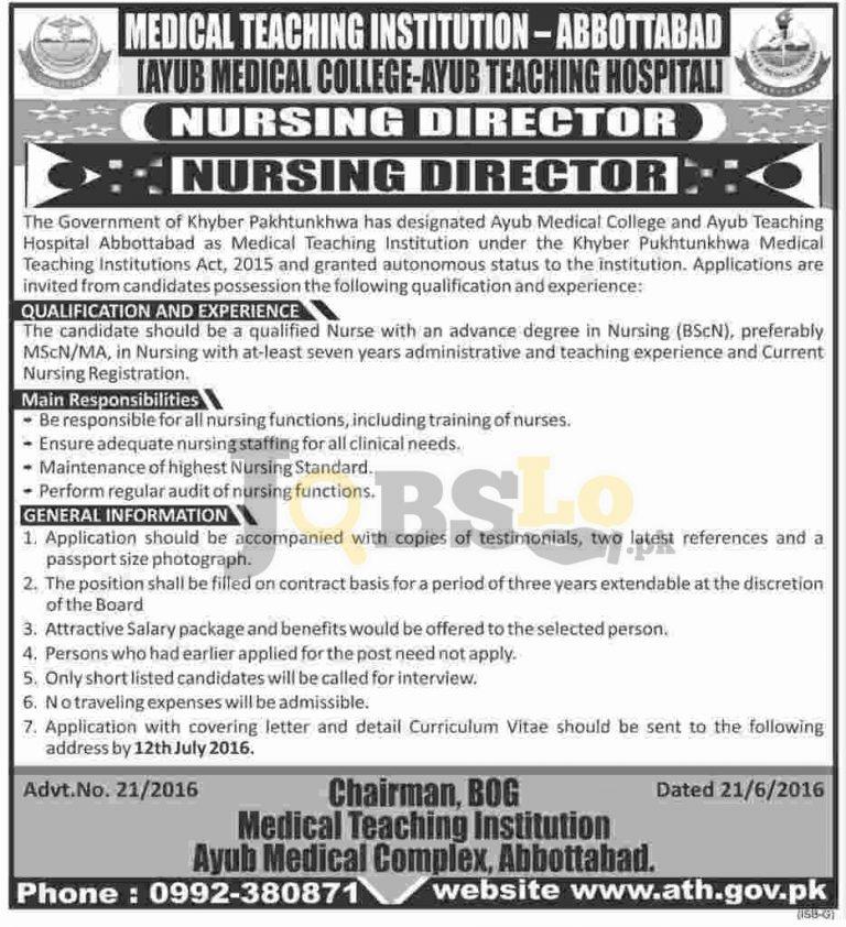 Ayub Medical Teaching Hospital Jobs 2016 Abbottabad For Nursing Director Eligibility Criteria