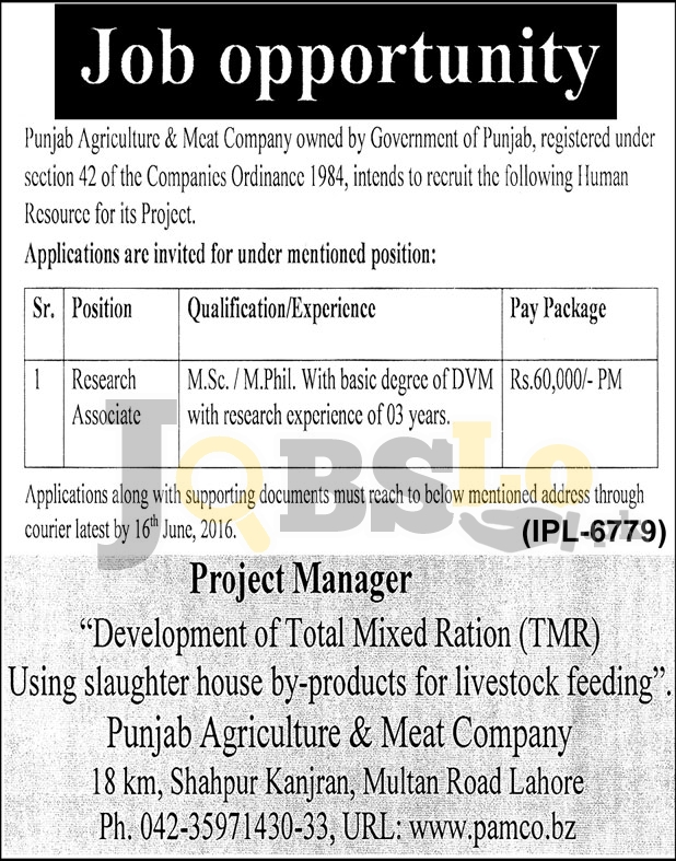 Agriculture & Meat Company Jobs 2016 in Punjab Employment Opportunities