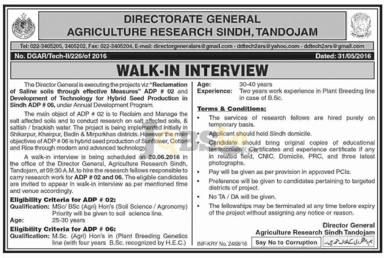 Directorate General Agriculture Research Jobs 2016 in Tandojam Latest Opportunities