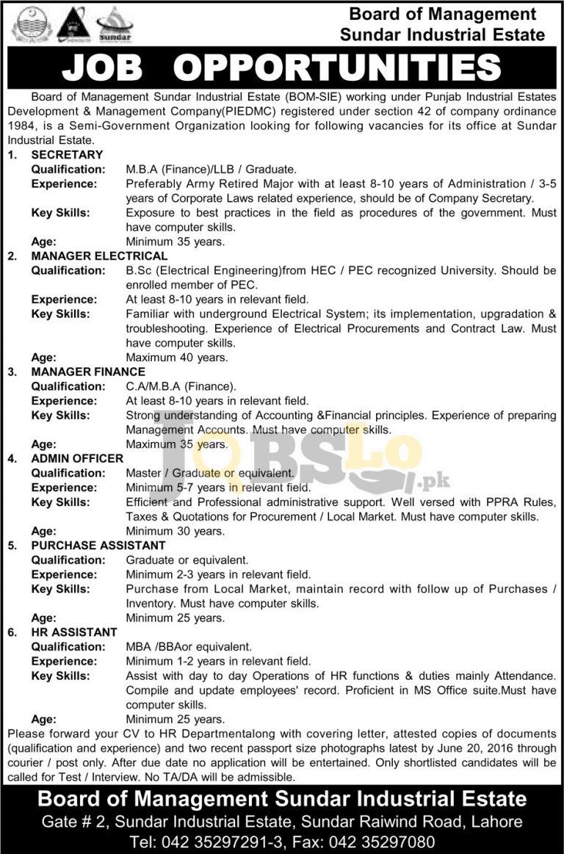 Board of Management Sundar Industrial Estate Punjab Jobs 2016 Advertisement Latest