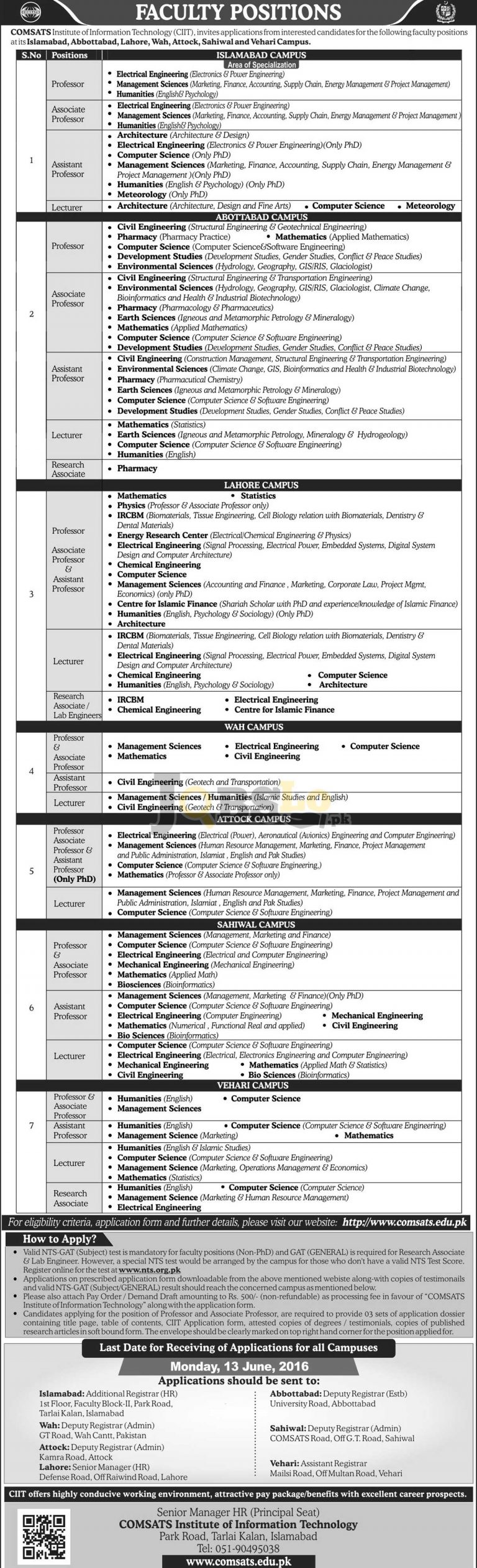 COMSATS Institute of Information Technology Jobs 2016 NTS Online Registration