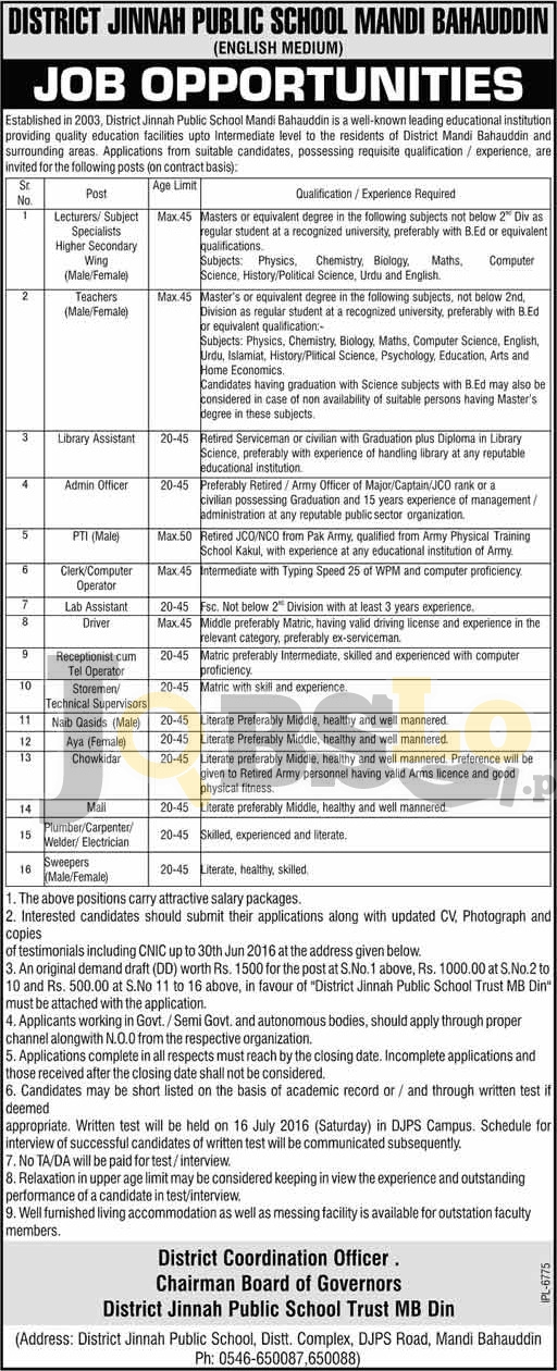 D.Jinnah Public School Jobs