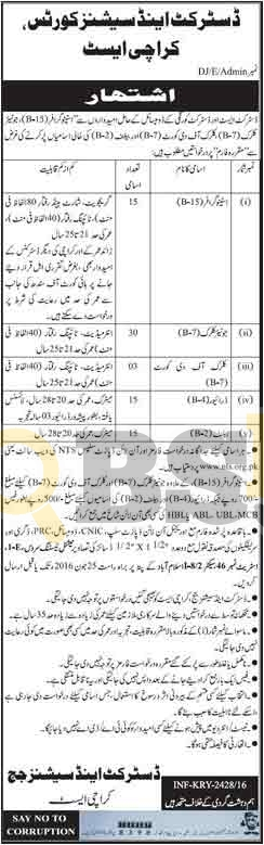 District & Session Court Jobs 2016 in Karachi NTS Online Application Form