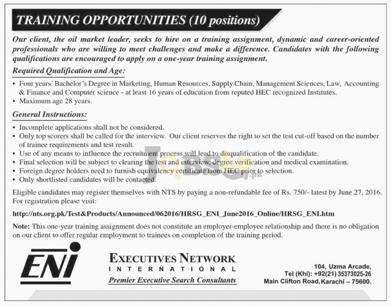 Executive Network International Training Offers in Pakistan 2016 NTS Online Registration