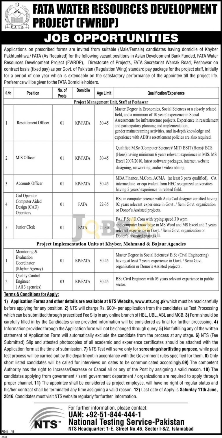 FATA Water Resources Development Project Jobs 2016 NTS Test & Sample Paper